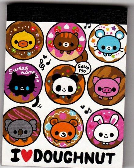 Q-Lia Japan I Love Doughnut Mini Memo Pad Kawaii