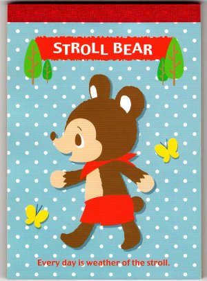 Daiso Japan Stroll Bear Memo Pad Kawaii