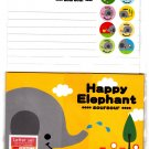 Daiso Japan Happy Elephant Letter Set with Stickers Kawaii