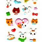 Kamio Japan Lily Rabbit Puffy Sticker Sheet Kawaii