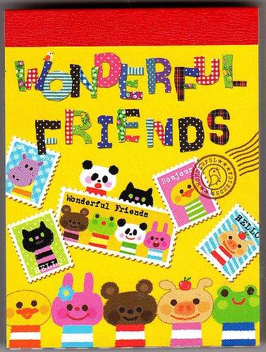 Kamio Japan Wonderful Friends Mini Memo Pad (B) Kawaii