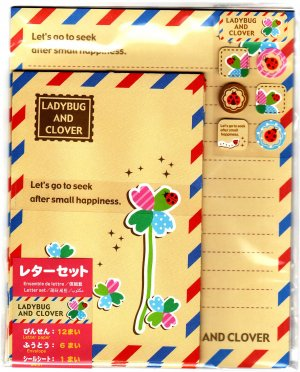 Daiso Japan Ladybug and Clover Letter Set with Stickers Kawaii