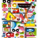Kamio Japan Cars and Traffic Puffy Sticker Sheet Kawaii