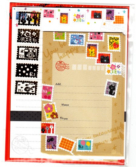 Mind Wave Japan Colorful Stamps Letter Set with Stickers Kawaii