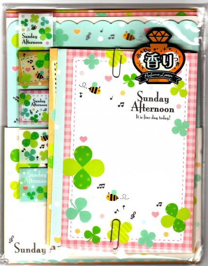 Q-Lia Japan Sunday Afternoon Letter Set with Stickers Kawaii