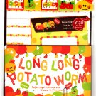Q-Lia Japan Long Long Potato Worm Letter Set with Stickers Kawaii