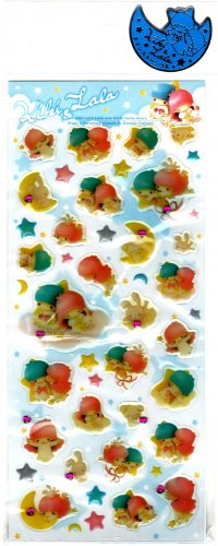 Sanrio Japan Little Twin Stars Kik & Lala Epoxy Sticker Sheet (A) 2004 Kawaii