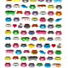 Kamio Japan A Lot of Cats Puffy Sticker Sheet Kawaii