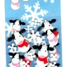 Midori Japan Fuzzy Cows and Snowflakes Sticker Sack Kawaii