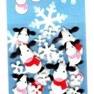 Midori Japan Fuzzy Cows and Snowflakes Sticker Sack Kawaii