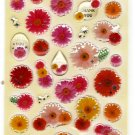 Mind Wave Japan Flowers Epoxy Sticker Sheet Kawaii