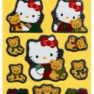 Sanrio Japan Hello Kitty and Teddy Mylar Sticker Sheet 1995 Kawaii