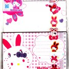 Sanrio Japan Hello Kitty Colorful Bunny Letter Set with Stickers by Sun Star (C) 2010 Kawaii