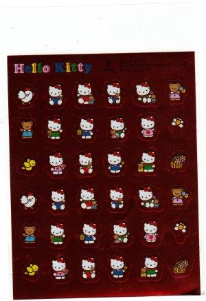 Sanrio Japan Hello Kitty and Bear Foil Sticker Sheet 1994 Kawaii