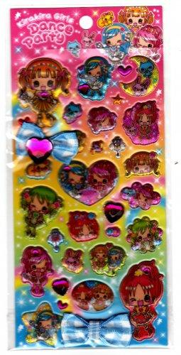 Pool Cool Japan Kirakira Girls Dance Party Puffy Sticker Sheet Kawaii