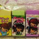 Kamio Japan Miracle Girls Mini Erasers Set of 7 Rare Kawaii
