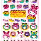 Sanrio Japan Hello Kitty Colorful Bunny Fuzzy Sticker Sheet by Sun-Star (A) 2010 Kawaii