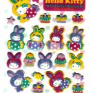 Sanrio Japan Hello Kitty Colorful Bunny Fuzzy Sticker Sheet by Sun-Star (B) 2010 Kawaii