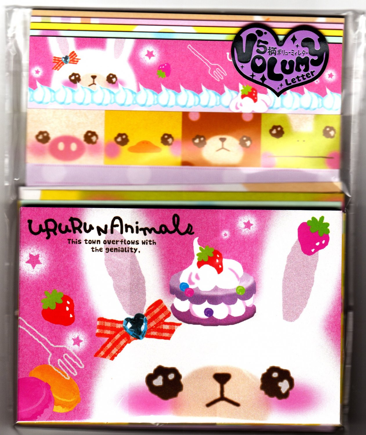 Q-Lia Japan Ururun Animals Letter Set with Stickers Kawaii