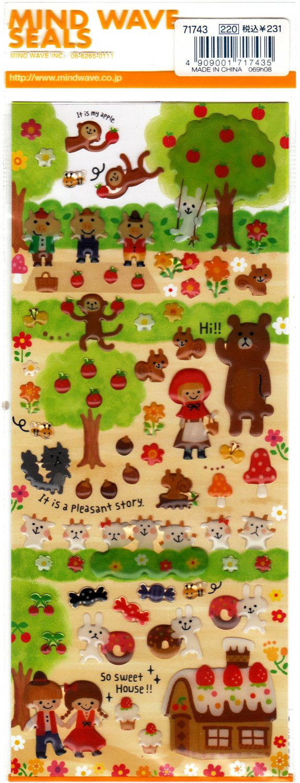 Mind Wave Japan Pleasant Story Epoxy Sticker Sheet Kawaii