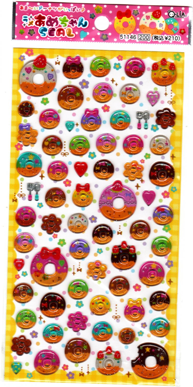 Q-Lia Japan Sweet Donuts Epoxy Sticker Sheet Kawaii