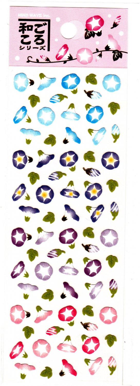 Mind Wave Japan Morning Glory Washi Paper Sticker Sheet Kawaii