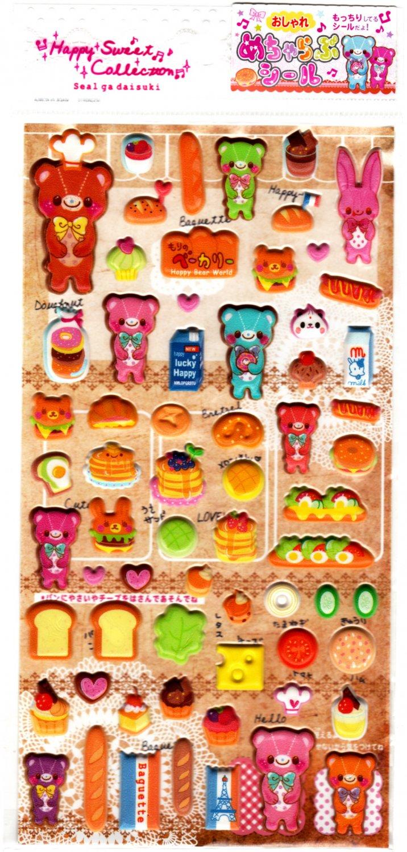 Lemon Japan Happy Bear World Puffy Sticker Sheet Kawaii