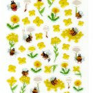 P. Work Japan Bees and Flowers Epoxy Sticker Sheet Kawaii