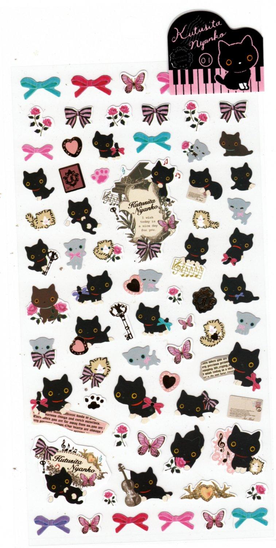 San-X Japan Kutusita Nyanko Cat Sticker Sheet (A) 2011 Kawaii