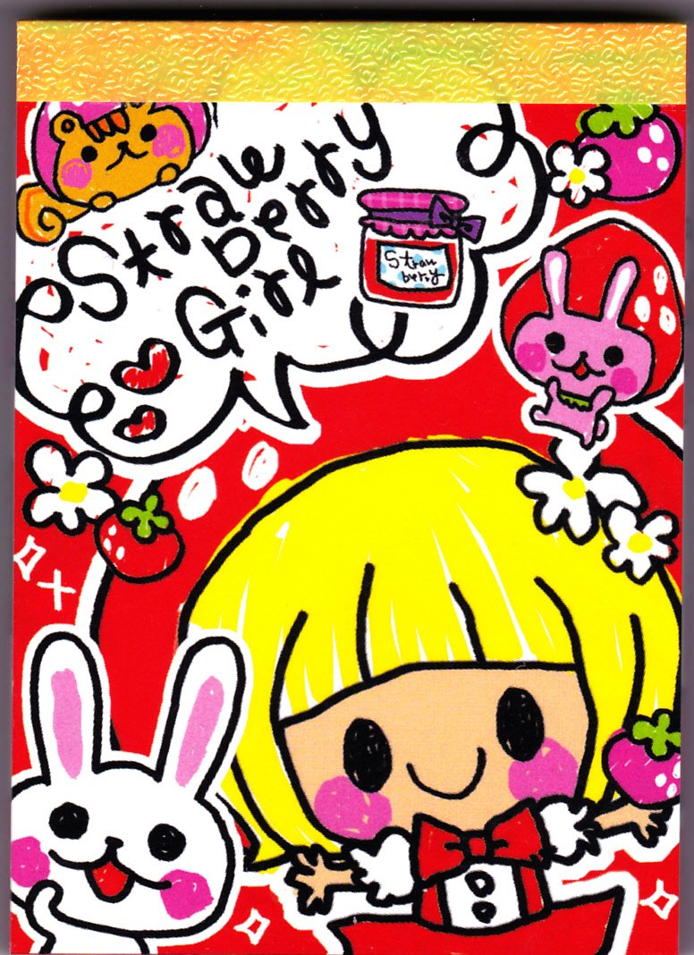 Q-Lia Japan Strawberry Girl Mini Memo Pad Kawaii