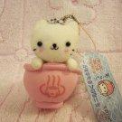 San-X Japan Nyanko Cat Hot Spring Mascot Plush Charm Keychain Strap 2003 Kawaii