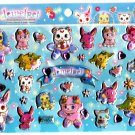Sanrio Japan Sega Toys Jewel Pet Glitter Puffy Sticker Sheet 2011 Kawaii