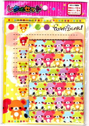 Funny Bear Letter Set with Stickers Kawaii