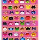 Stead Fast Japan Funny Animals Puffy Sticker Sheet (A) Kawaii