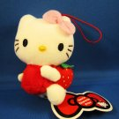 Sanrio Japan Hello Kitty with Strawberry Mascot Plush Strap by Eikoh (B) 2010 Kawaii