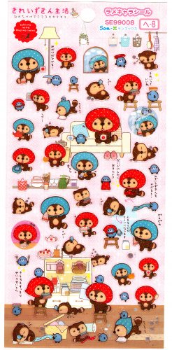 San-X Japan Kireizukin Seikatu Cleaning Raccoon Glitter Sticker Sheet 2010 Kawaii