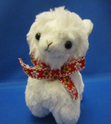 Amuse Japan White Alpacasso with Bow Plush Keychain Strap Kawaii