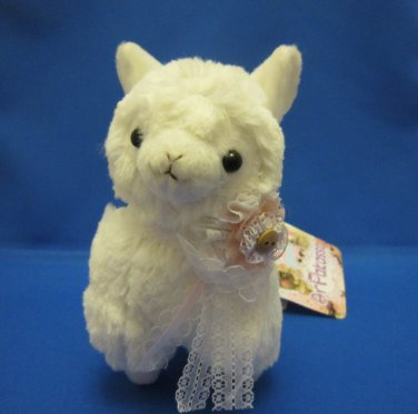 Amuse Japan White Arpakasso Plush with Lace Ribbon Kawaii