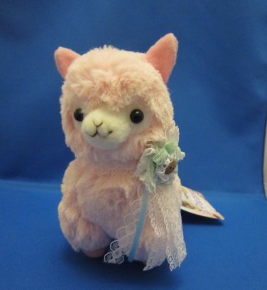 Amuse Japan Pink Arpakasso Plush with Lace Ribbon Kawaii