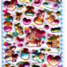 Q-Lia Japan Cutie Powder Puffy Sticker Sheet Kawaii