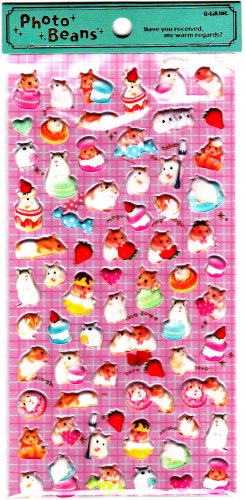 Q-Lia Japan Photo Beans Cute Hamsters Puffy Sticker Sheet Kawaii
