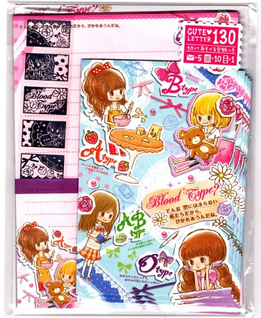 Mind Wave Japan Blood Type Letter Set with Stickers Kawaii