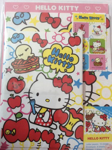 Sanrio Japan Hello Kitty and Apples Letter Set with Stickers 2013 Kawaii