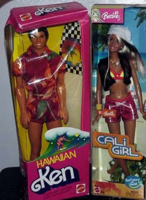 1983 Hawiian Ken, 2003 Cali Girl Barbie, Olympic Barbie