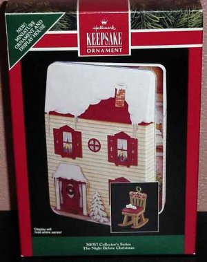 Hallmark 1992 The Night Before Christmas Pressed Tin Display House