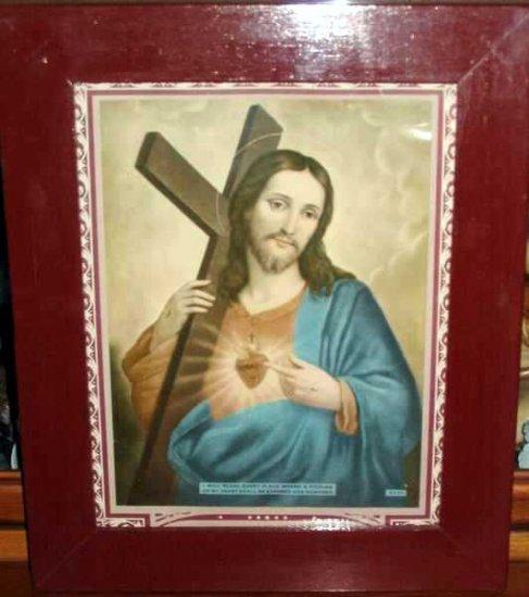 Vintage Wood Framed Sacred Heart Jesus Litho / Print
