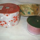 Christmas Ribbon Nylon Wire Edge Assorted New 35ft 4yds
