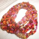 Fun Multi-Strand Acrylic Bead Acrylic Fashion Stretch Bracelet Red-Oranges Multi
