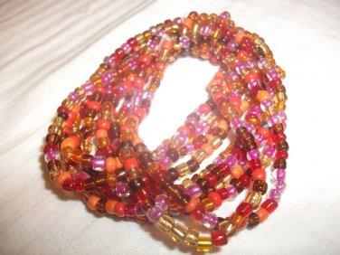 Fun Multi-Strand Acrylic Bead Acrylic Fashion Stretch Bracelet Red-Oranges Multi