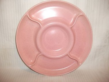 Vintage California Pottery Pink Speck Chip & Dip Plate Relish Tray Mid Century